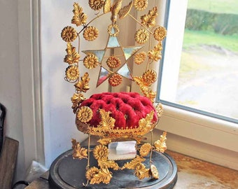 Antique interior of  Globe de Marriage star shape /Globe de mariee/ French Wedding Cushion/Antique Bridal tiara stand