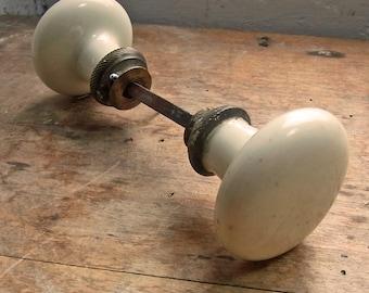 Vintage French Pair of door handles / white porcelain door knob set  / Architectural