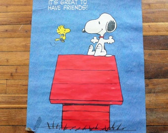 Vintage Year 1965 Original Snoopy poster with message on the back