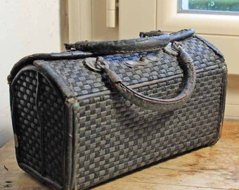 beginning of 20th century  handcrafted weave basket with lid, Vintage basket rustic, Napoleon III style Wicker Basket