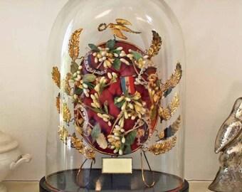 Antique Globe de Marriage / Vintage Globe de mariee/ beginning of 20th century e glass dome wax flower tiara