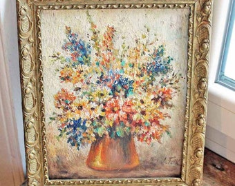 Antique oil painting by L Folk / beautiful  oil painting  of bouquet flowers Signed art Beginning of 20th century