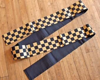 Vintage Japanese Obi (belt)  for Kimono (yukata), Japanese oriental Checker pattern fabric Black Gold / Thick fabric good for making bags