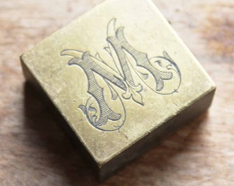 Vintage Brass initial stamp M and IC  , Antique initial printers stamp for letter head etc