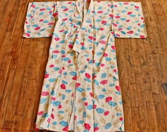 Vintage Japanese Kimono, Fabric Pattern Fans/ 1980'soriental cloth 'Kimono' all hand sewn size M Tribe wear /Authentic japanse kimono