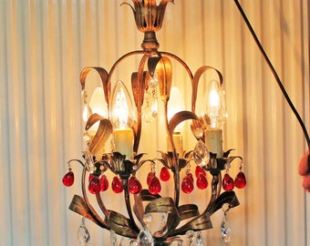 Vintage small Tole Chandelier with Red tear drop glasses, Vintage red glass chandelier, French Toleware, flower Chandelier,