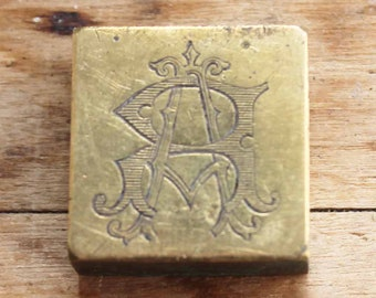 Vintage Brass initial stamp ra /ar and cm / mc , Antique initial printers stamp for letter head etc