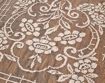vintage French bedspread/Sofa cover Vintage coverlet handmade/ antique filet lace netting crochet flower bed cover/ Vintage quilt Patchwork