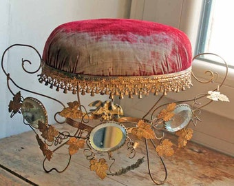 Antique interior of  Globe de Marriage cushion stand /Globe de mariee/ French Wedding Cushion/Antique Bridal tiara stand