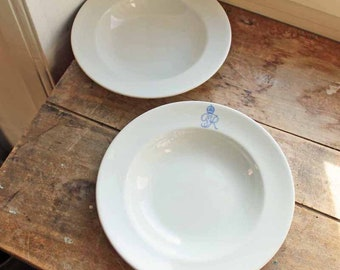 Antique royal dulton soup dish set of 2 /Year 1939 Initial Heraldry King George VI? England /British royal family table serving