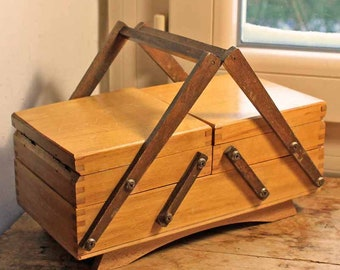Vintage wooden sewing box / French sewing wood box/ Old wooded box mid century france