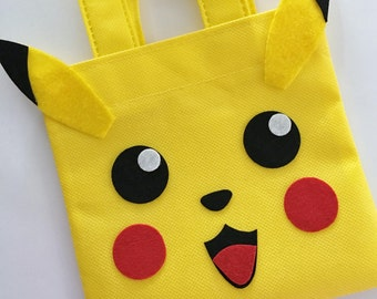 Set Of 12 Pikachu Favor Bags With Personalized Thank You Tags Pokemon Party Birthday