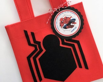 Set of 12 Spiderman Homecoming Favor Bags with Personalized Thank You Tags, Spiderman Homecoming, Spiderman Party, Spiderman Birthday