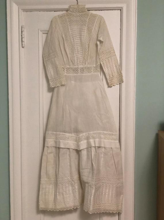 Victorian cotton voile tea dress; Edwardian white