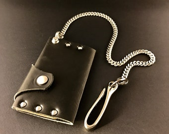 Leather Chain Wallet-Minimalist Handmade by Tooled Metals on Etsy