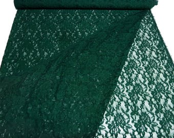 Fabric Stretch Lace Lace Fabric with Floral Pattern Fir Green Dark Green Dress Fabric