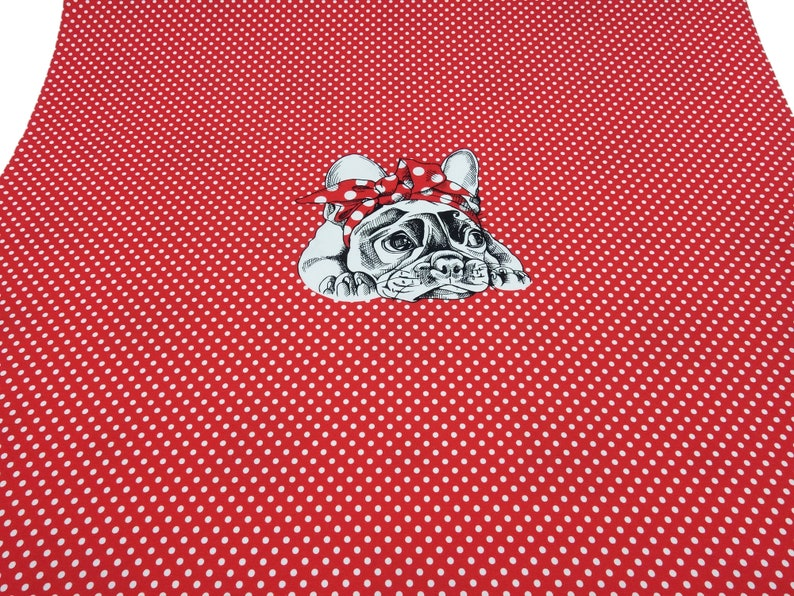 Fabric Jersey Cotton Pugs Pugs Dogs Panel 0.8m x 1.50m Red White Children/'s Fabric Dress Fabric Miss by Julie
