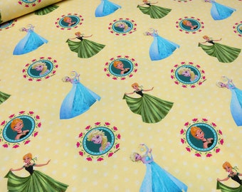 Fabric cotton jersey frozen Anna Elsa Olaf Yellow Children's fabric (18.00 EUR/meter)