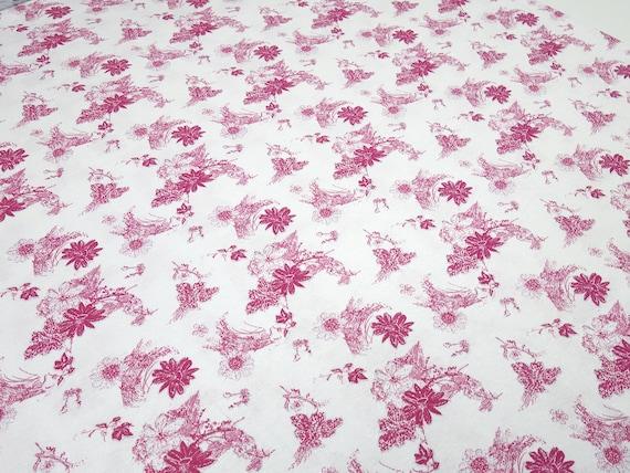4 Metros Impreso Rosa Suave Viscosa Elastaine Vestido De Tela Con Flores Rojas