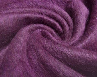 Fabric noble Ital. Alpaca flush felon limit Fur imitat Fake Fur fuchsia purple melange mantle fabric jacket fabric