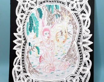 Forest Creatures Embroidered Illustration on Vintage Lace
