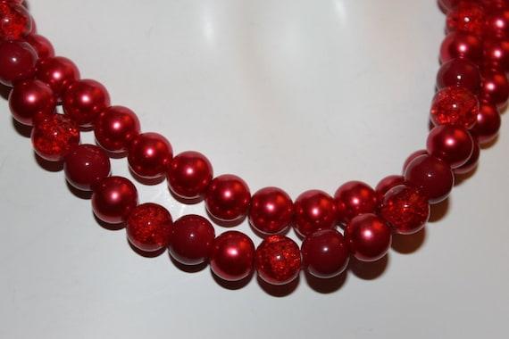 Zeer Parel ketting rood rode parel ketting met kralen rood | Etsy #UD64