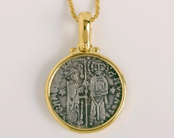 Ancient Greek Silver Coin, 18k Gold Pendant, Two Byzantine Figures, Authentic Coin Medallion For Men Gold Bezel Pendant Berman