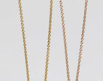 18 Karat Gold Rolo Chain, 18kt solid gold yellow, rose, white chain necklace, simple gold chain 1.2mm width, 42cm 45cm 50cm 60cm length