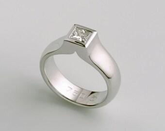White Gold Diamond Solitaire Engagement Ring for Man, Square Diamond Ring, 18k White Gold Ring, Woman Man Diamond Signet Ring