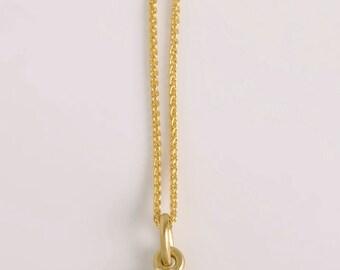 14 Karat Gold Spiga Chain, 14kt solid gold Wheat chain necklace, simple gold wheat chain, 0.9 mm width, 42cm, 45cm, 50cm 60cm 70cm length