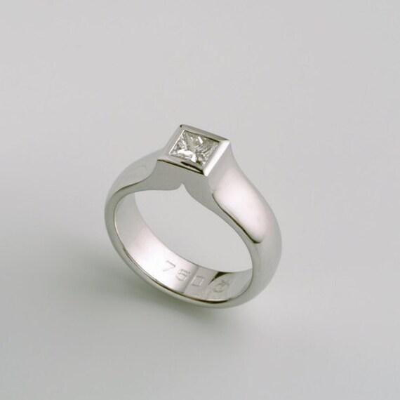 Weissgold Diamant Solitar Verlobungsring Fur Quadrat Etsy