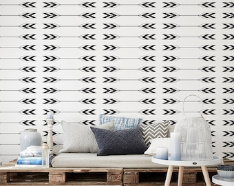 Monochrome Wallpaper/ Arrow Removable Wallpaper/ Self-adhesive Wallpaper / Aztec Pattern Wall Covering - 014