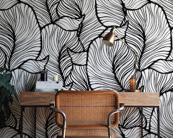 Monochrome Leaf Wallpaper, Exotic leaves Wallpaper, Baroque style Wall Mural, Home Décor, Easy install Wall Decal, Removable Wallpaper B013b