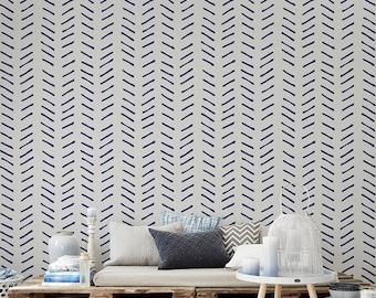 Self adhesive Removable wallpaper, tapestry  - Heringbone wallpaper pattern print - 156