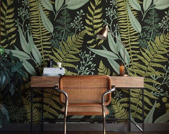 Botanical Wallpaper, Ferns Wallpaper, Wall Mural, Green Home Décor, Herbal Decorations, Easy instal Wall Decal, Removable Wallpaper B008