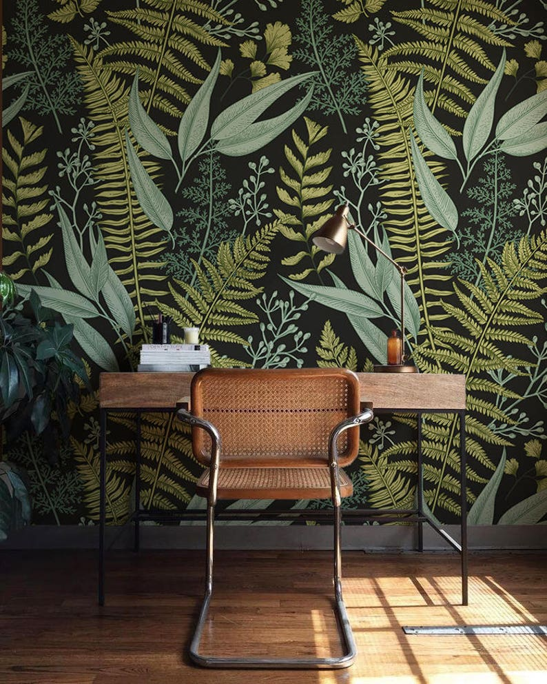botanical wallpaper ferns wallpaper wall mural green home etsyimage 0