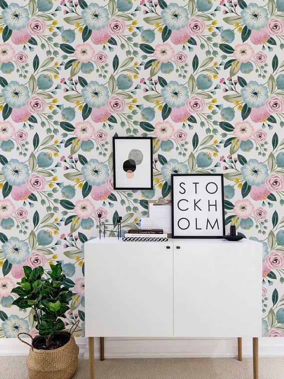 Seamless Flower Self adhesive wallpaper Vintage floral | Etsy
