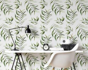 Tropical Leaf Wallpaper - Exotic Leaf Mural, Botanical Leaf wallpaper, Leaf Wall Mural, Peel and Stick, Removable Wallpaper -ZP011
