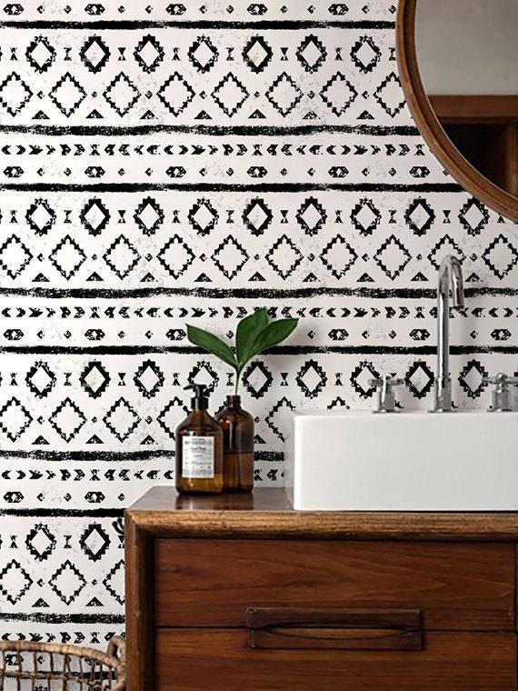 Monochrome Wallpaper Black And White Removable Wallpaper Etsy