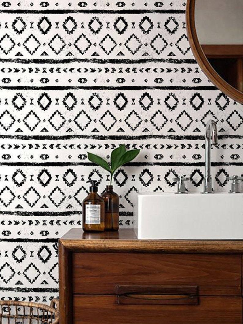 Monochrome Wallpaper/ Black and White Removable Wallpaper/ image 0