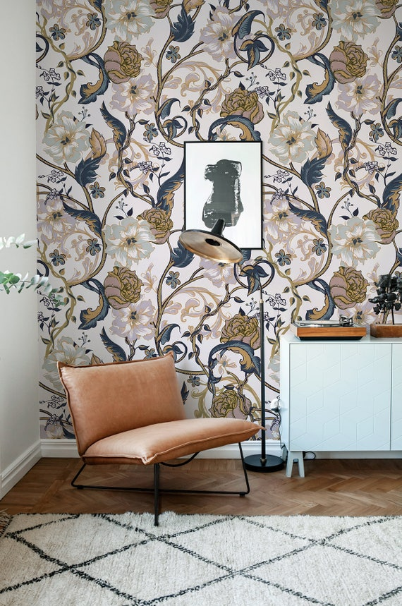 Vintage Floral Wallpaper Retro Wall Mural Floral Home Dcor Etsy