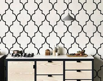 Self adhesive vinyl temporary removable wallpaper, wall decal - Moroccan  print  - 030