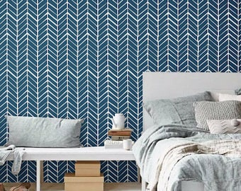 Self adhesive vinyl wallpaper - Chevron pattern print  - 026 WHITE/ NAVY