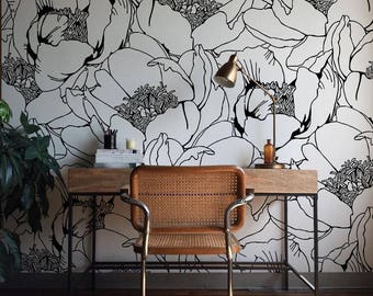 Monochrome Floral Wallpaper, Wall Mural, Floral Home Décor, Floral Decorations, Large Floral Design, Wall Decal, Removable Wallpaper B006