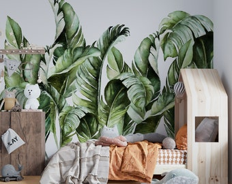 Large Banana Leaf Wallpaper - Exotic Leaf Mural, Banana Leaf wallpaper, Tropical Wall Mural, Peel and Stick, Removable Wallpaper -ZP013