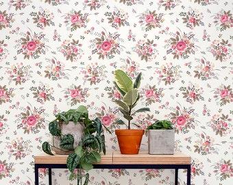 Peel and stick vintage floral pattern removable vinyl  wallpaper - Flower pattern wallpaper mural - 162