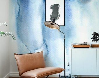 BLUE Watercolor Wallpaper, Abstract Wallpaper, Unique Wallcovering, Abstract Home Décor, Peel and Stick, Watercolor Design, Wall Art B009