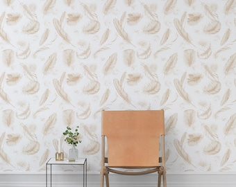 Seamless Feather Self adhesive vinyl temporary removable wallpaper, wall decal - Feather nursery wallpaper mural - 163