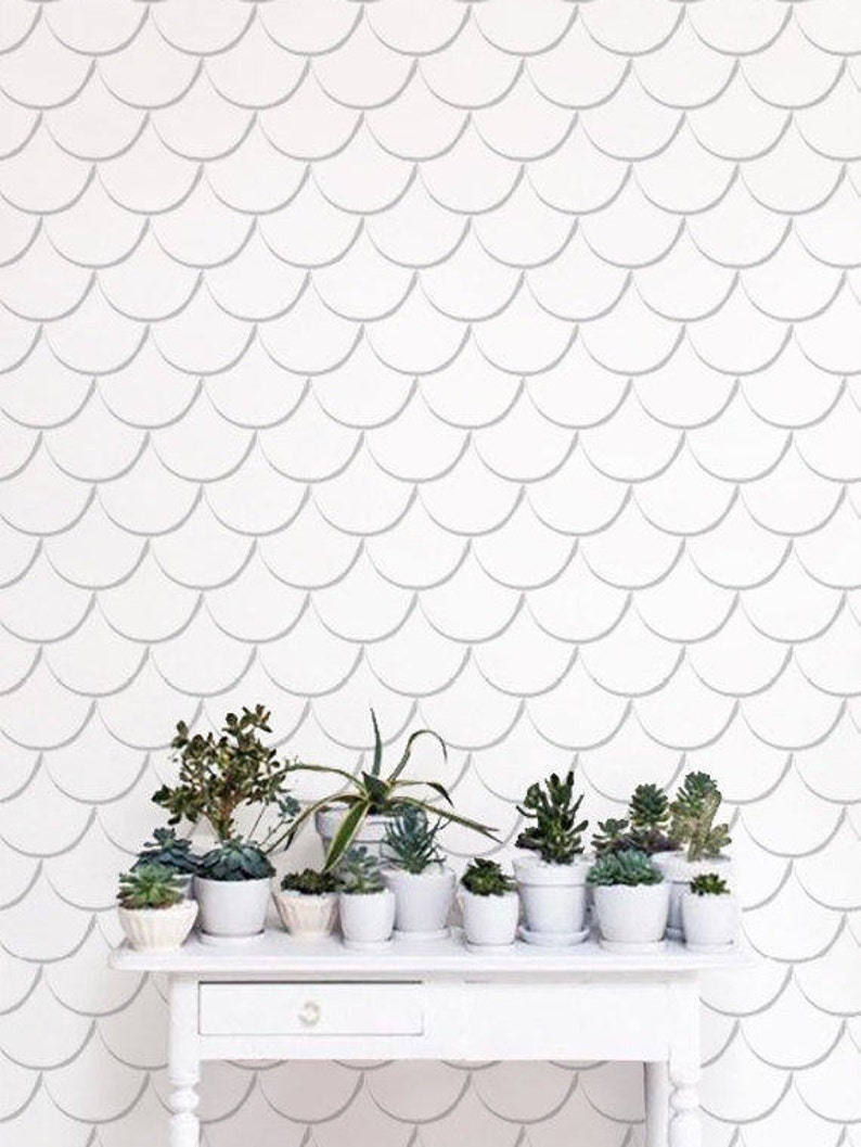 Removable Scallop Wallpaper Self adhesive Scallop pattern image 0