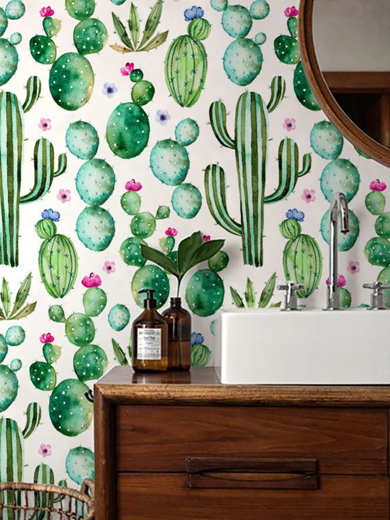 Cactus Impression Wallpaper Fond Décran Amovible Aquarelle Etsy